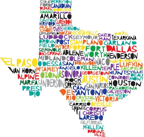 texas state print digital illustration with cities listed
