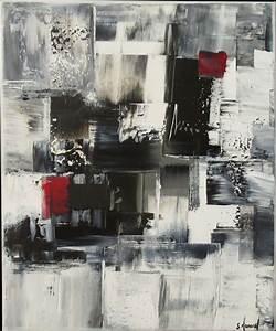 Toile Blanche A Peindre : peinture acrylique noir gris blanc rouge sur ch ssis toile ~ Premium-room.com Idées de Décoration
