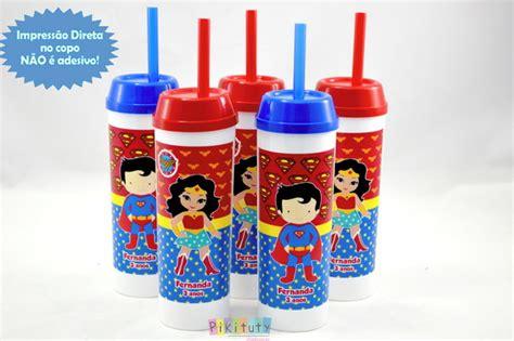 Copo Long Drink c/ canudo Super Homem e Mulher Maravilha