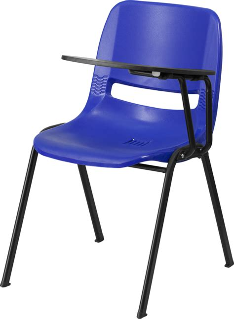 blue ergonomic shell chair with left handed flip up tablet arm