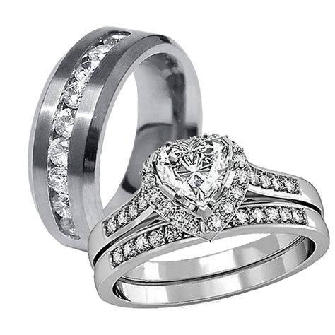 2018 popular black and silver s wedding bands