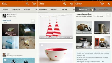 etsy for android etsy launches a new shopping app for android powered