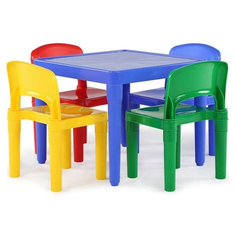 plastic table and chairs tot tutors playtime 5 piece primary colors kids plastic