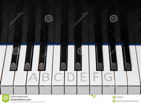 Piano Keyboard Octave With Labels Stock Photo
