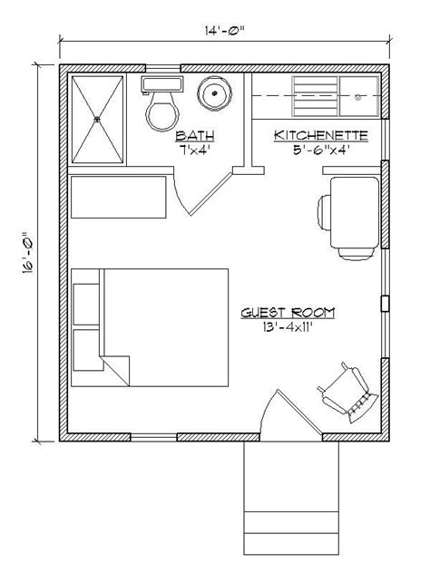 guest cottage floor plans small house plan for outside guest house make that a murphy bed with bookcases built in on