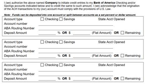 bank  america direct deposit form  eforms