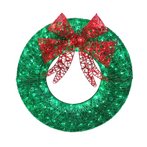lighted christmas wreath outdoor shop living 36 in pre lit indoor outdoor electrical outlet green and deco mesh