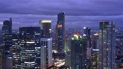 Skyscraper Buildings Night Lights Widescreen