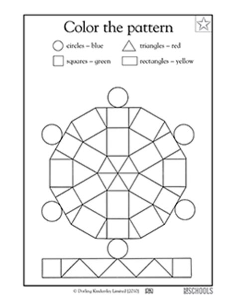 kindergarten preschool math worksheets color the pattern greatschools