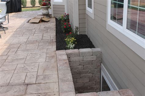 basement window wells Patio Contemporary with fit pit seat