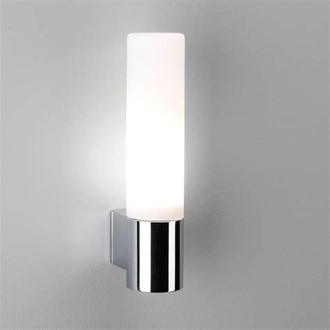 modern bathroom wall light in chrome with opal glass tube