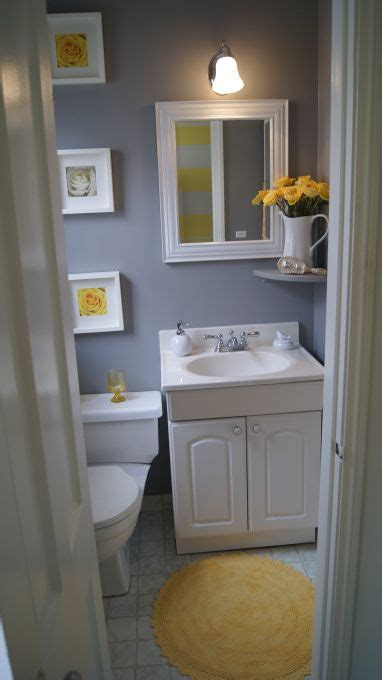 colorful small gray bathroom makeover