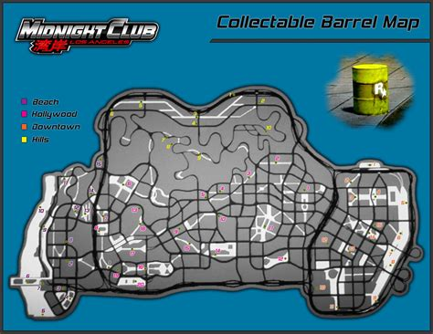 Midnight Club Los Angeles Collectible Barrels Map