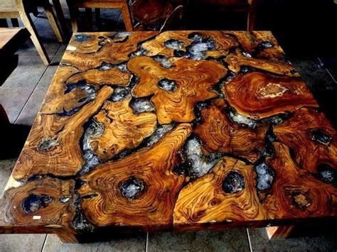 teak roots  cracked resin table top home ideas