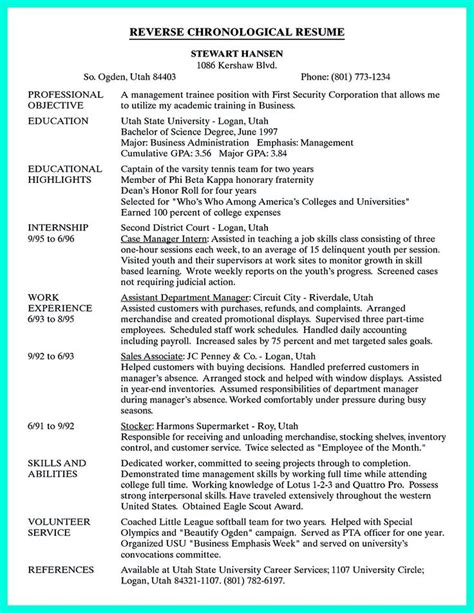 Chronological Order Of On Resume by 25 Best Ideas About Chronological Resume Template On Free Resume Sles Resume