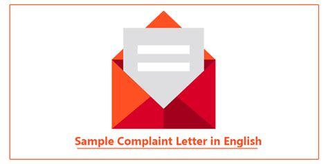 sample complaint letter  english complaint letter
