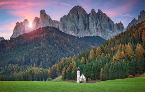 Wallpaper Forest Mountains Italy Church Temple