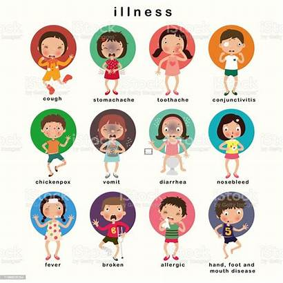 Childhood Illnesses Vektor Kinderkrankheiten Enfermedades Clipart Illustrazione