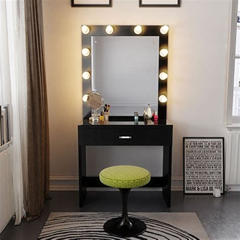 black makeup vanity table with lighted mirror tribesigns vanity set with lighted mirror makeup vanity