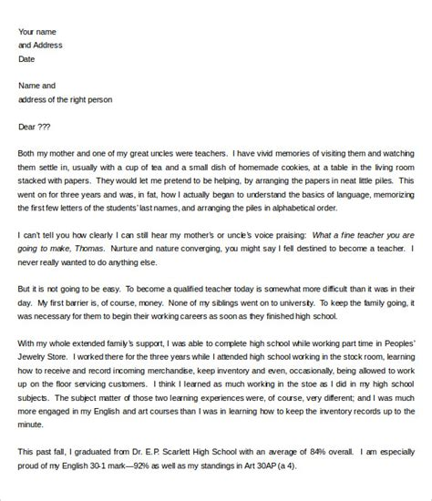 Letter Of Intent Template Letter Of Intent Sle For High School