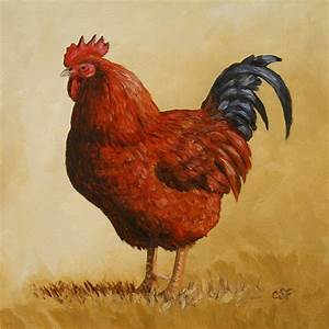Rhode Island Red Rooster Painting by Crista Forest