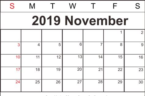 Free November 2019 Calendar Printable Template PDF Word A4