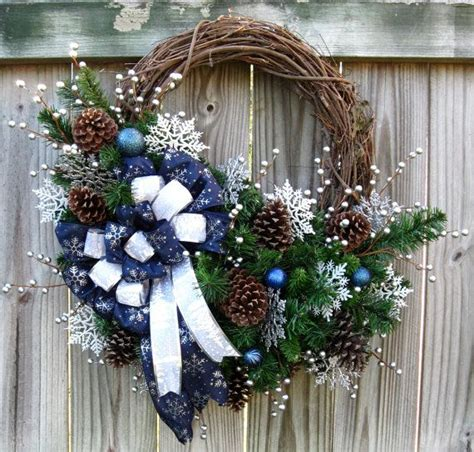 silent night winter solstice christmas wreath navy blue