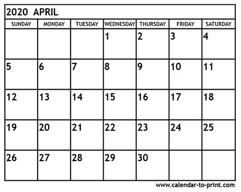 april printable calendar isacl