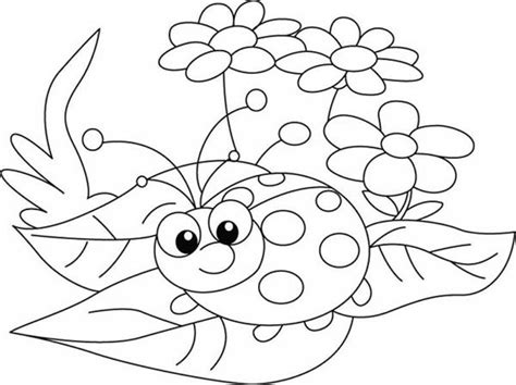 Little Ladybug Exploring The Nature Coloring Page