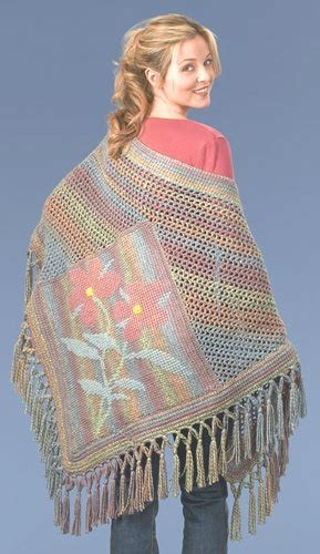 tunisian flower shawl crochet pattern  caron yarn