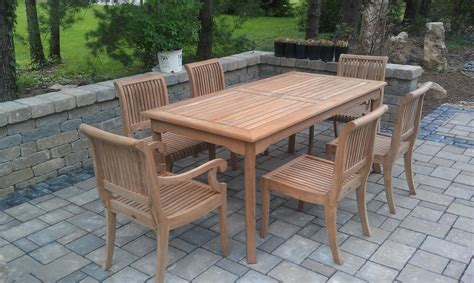 pc teak dining set garden outdoor patio furniture giva