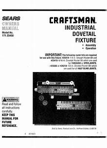 Craftsman 17125450 User Manual Industrial Dovetail Fixture