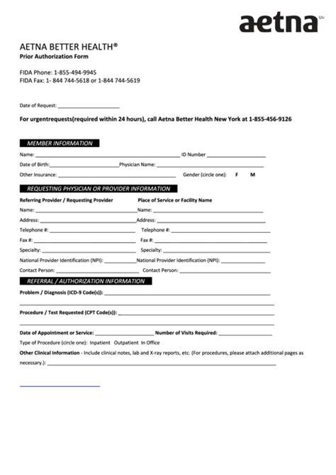 aetna prior authorization form printable pdf download