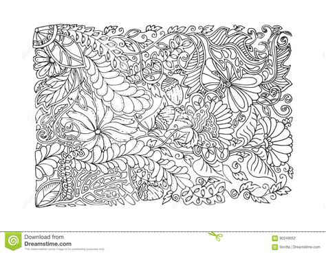 Adult Coloring Page Spring Design Stock Vector