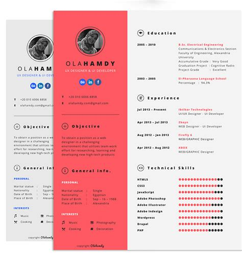 Interactive Resumes by 20 Free Editable Cv Resume Templates For Ps Ai