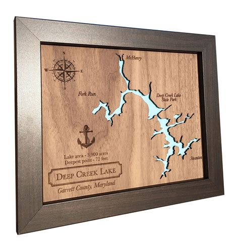 5th anniversary gift laser cut wood lake map any lake