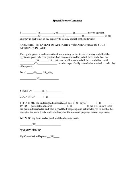 Power Of Attorney Template Power Of Attorney Template Cyberuse