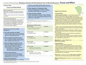 Cause And Effect Matrix Lesson Plan For 4th