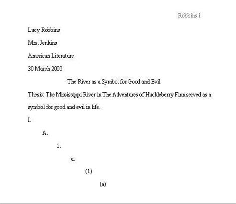 mla format outline template sle pages in mla format