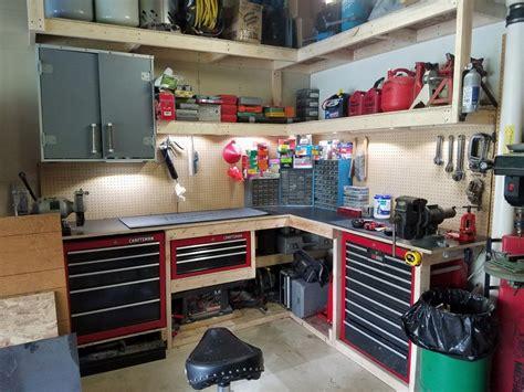 garage corner workbench ideas diy  crafts garage