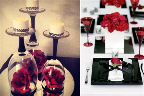 wedding decoration ideas red white  black table