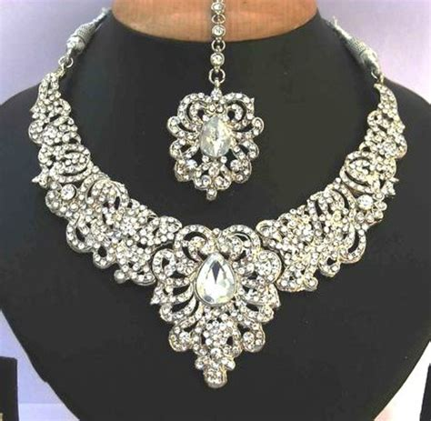 indian bollywood kundan silver crystal necklace set