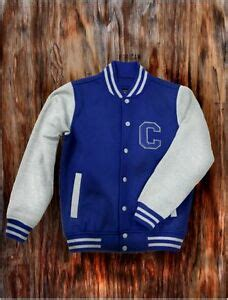 mens blue letterman baseball varsity top jacket college
