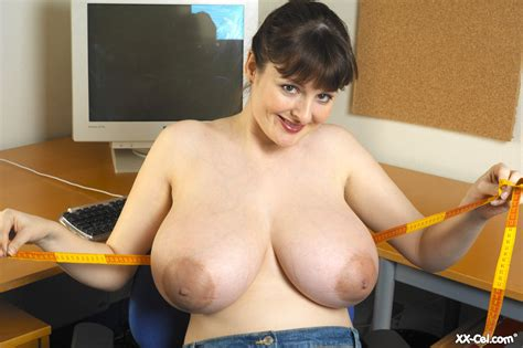 Busty Office Brunette Scans Her Milky Tits