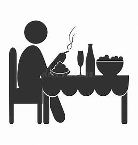 Flat Dinner Icon With Cigarette Isolated On White Stock ...