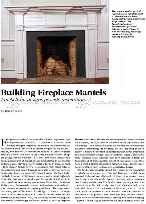 Fireplace Mantle Plans