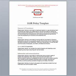 iasr policy template accessibility ontario With aoda policy template