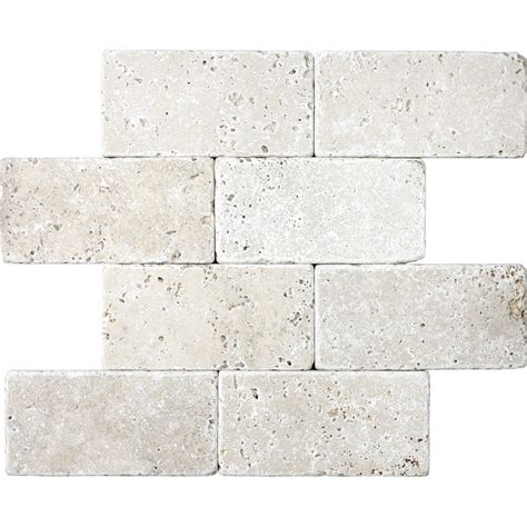 tumbled marble tile shop 8 pack chiaro tumbled marble wall tile