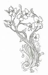 Cherry Blossom Coloring Tree Japanese Pages Template Trunk sketch template