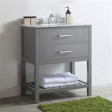 30 Inch White Bathroom Vanity Without Top by Foligno 30 Inch Single Vanity In Grey With Carrara White